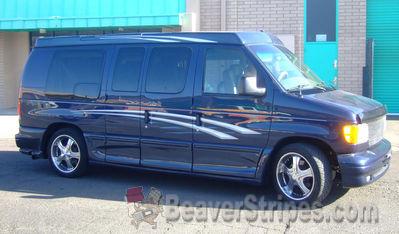 custom vehicle stripes graphics ford econoline conversion van